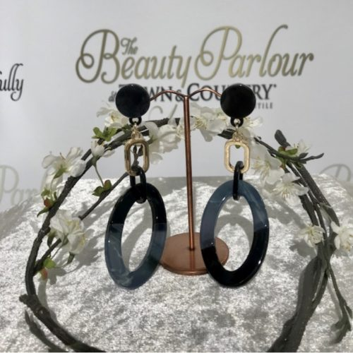 Long grey oval earring