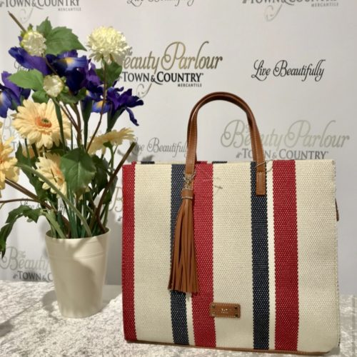 Red-navy stripe David Jones bag