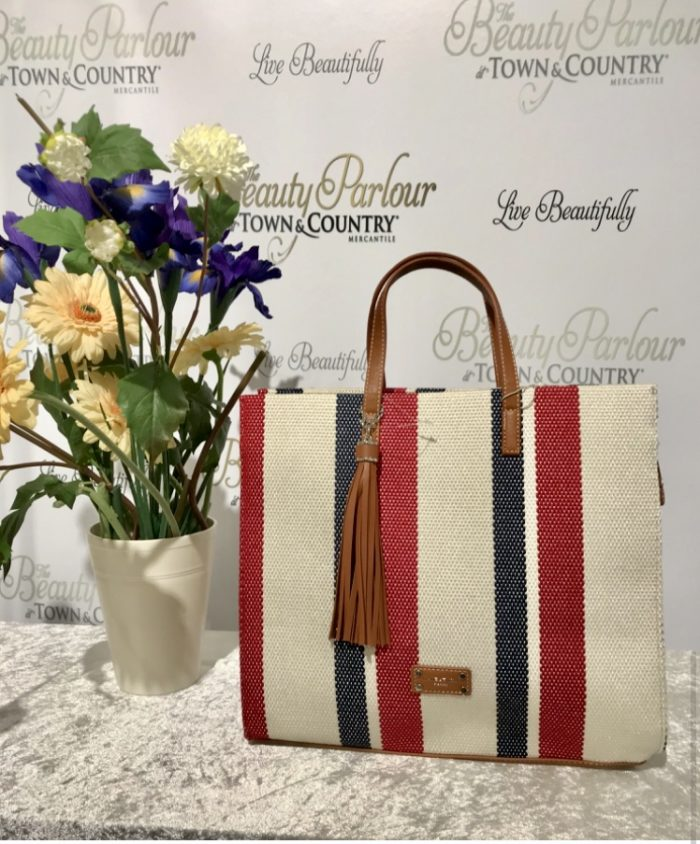 Red-navy stripe David Jones bag