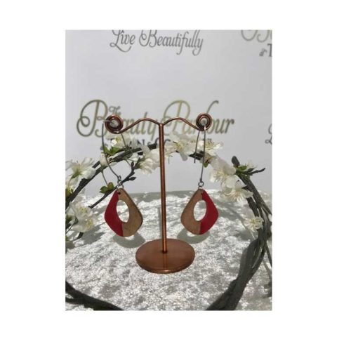 Wood Red Drop Earrings